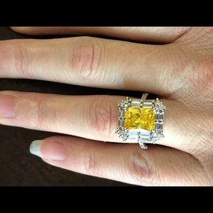 Jewelry - .925 Sterling Silver Citrine Diamond Ring